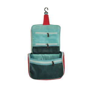 Inside blue colour travel pouch with zips, pockets and hook to hang