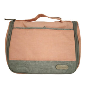 Travel pouch peach and grey with top handle