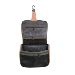 Open travel pouch with hook to hang and inside pockets