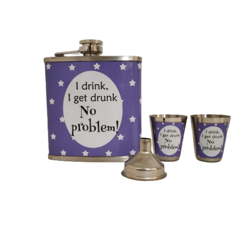 Hip flask set with two shot glasses and funnel