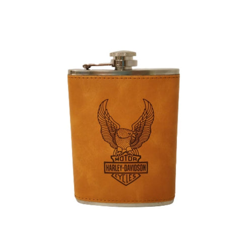 Harley davidson hip flask motor cycles in leather