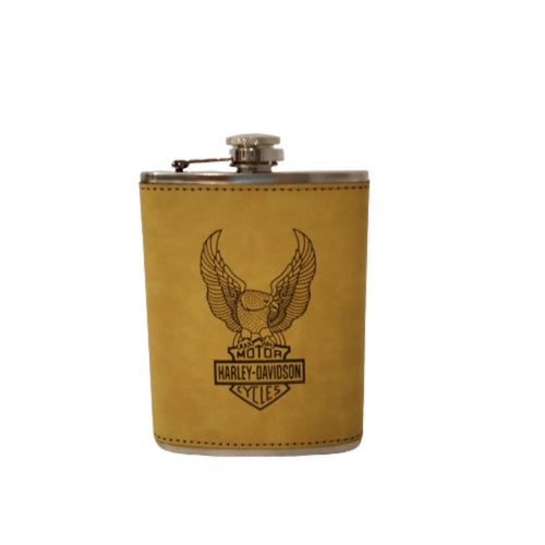 Eagle design motor cycles harley davidson leather hip flask
