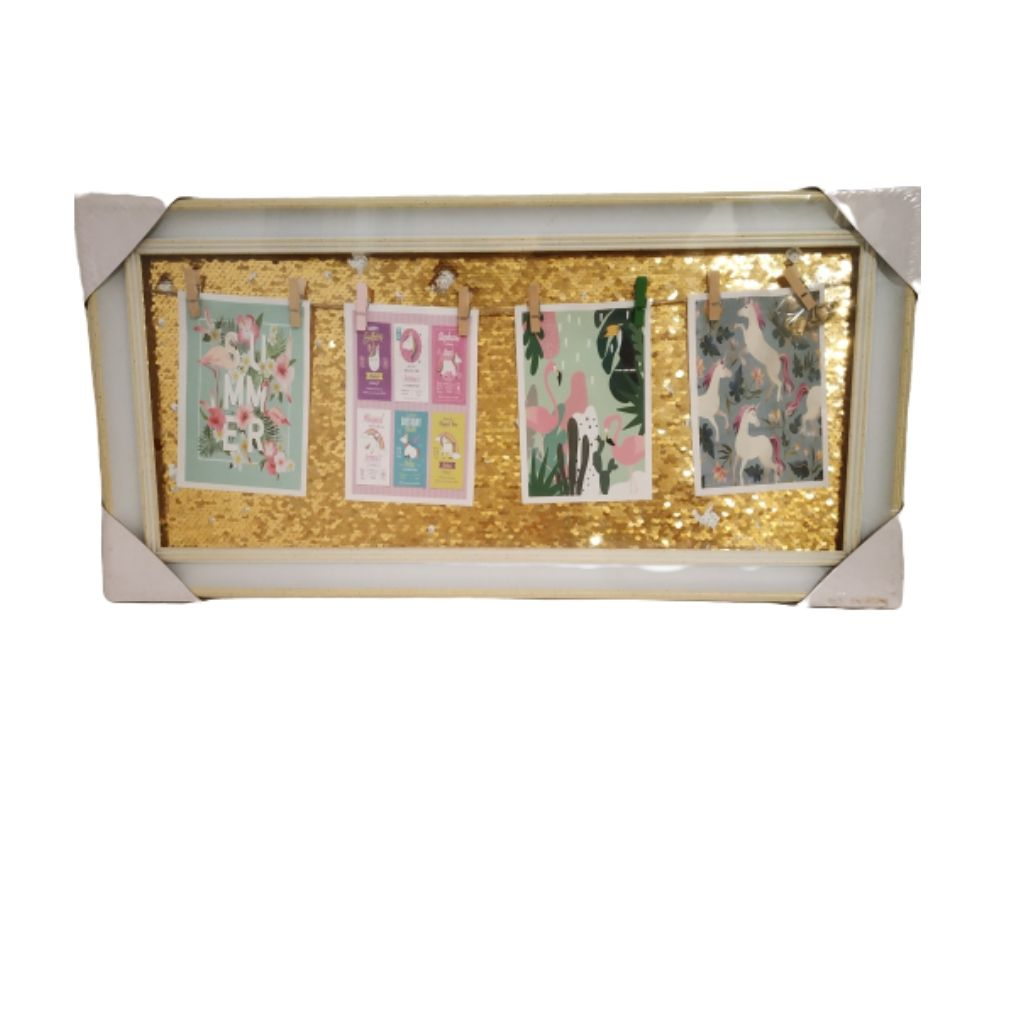 Photo frame board with gold sequins backdrop and hanging photos with clips