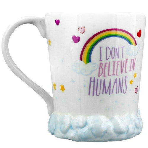Ceramic unicorn mug with rainbow and hearts