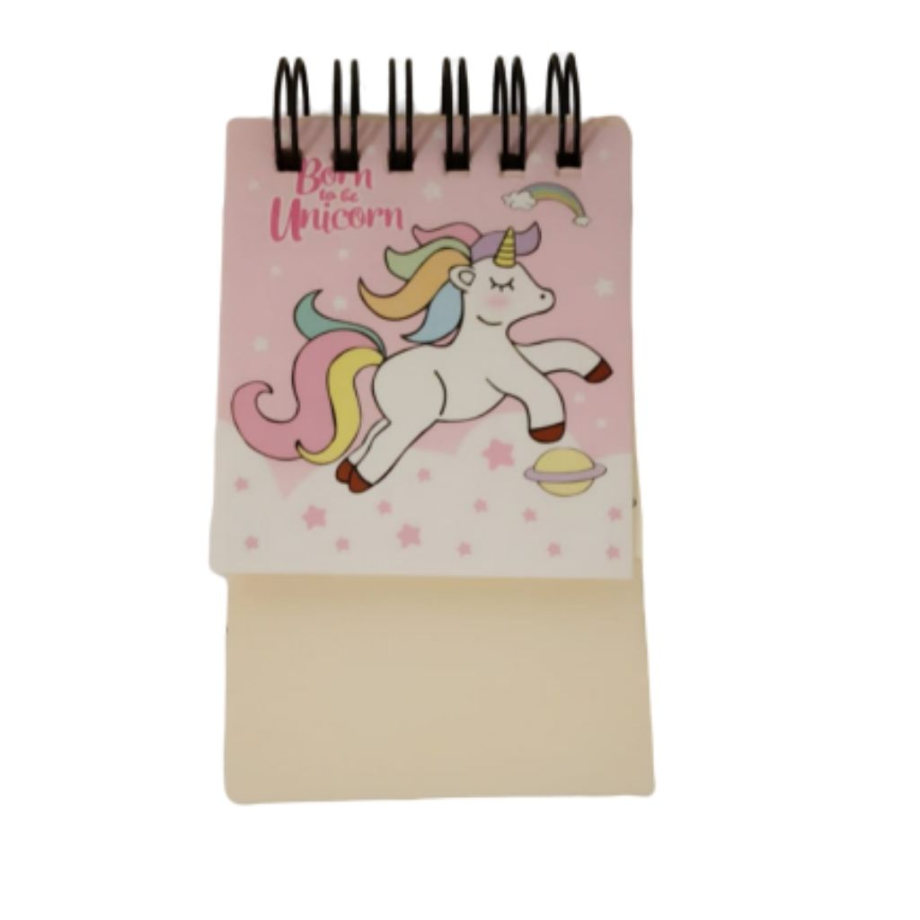 Mini memo pad with pink unicorn cover