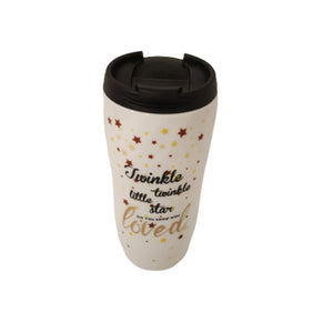 Side view of travel mug sipper white print