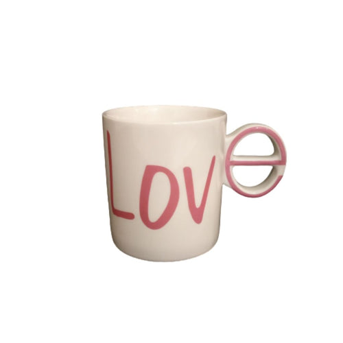 Ceramic white mug with pink text Love one and only