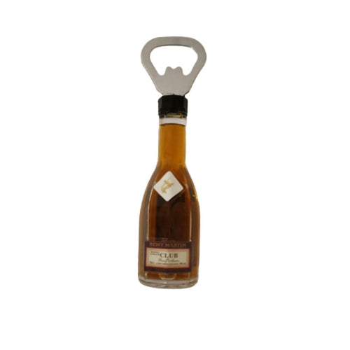 Bottle opener in alcohol bottle design with magnet back