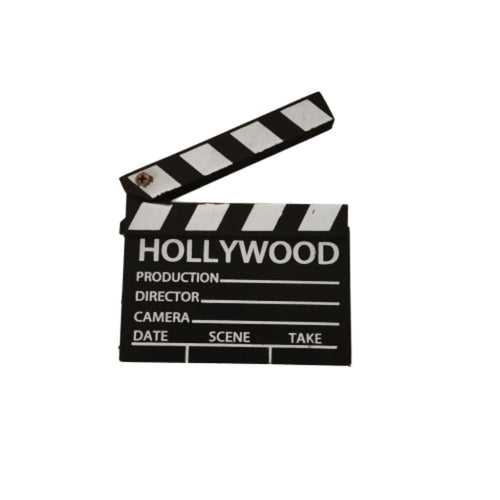 Hollywood movie clapper board magnet black white