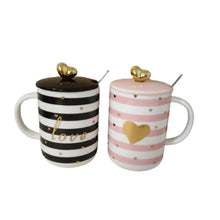 Load image into Gallery viewer, Ceramic mug set pink and black stripes with gold accents and lid