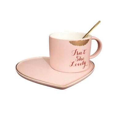 Isnt she lovely pink cup with heart saucer and spoon