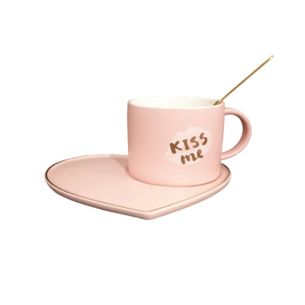 Ceramic baby pink cup and heart saucer with spoon
