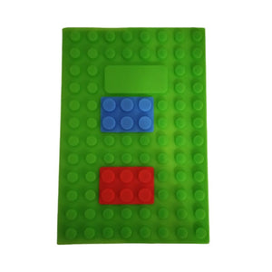 Green silicone lego notebook with blue and red blocks