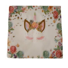 Load image into Gallery viewer, Floral print and unicorn set of paper party napkins