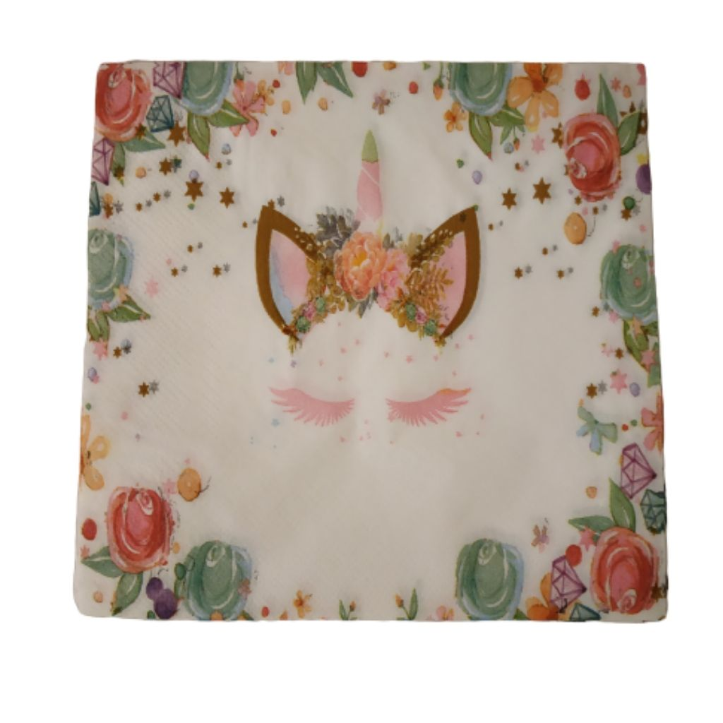 Floral print and unicorn set of paper party napkins