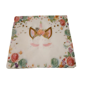 Pack of 20 paper napkins with unicorn and floral print