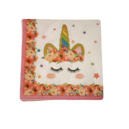 Pack of 20 birthday party paper napkins unicorn design
