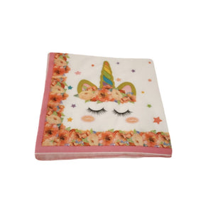 Pack of paper napkins for childrens unicorn party