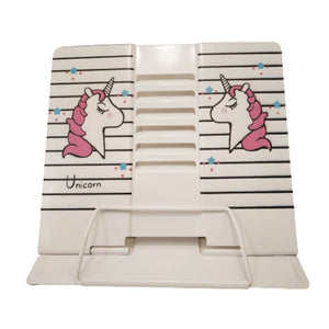 white unicorn book holder