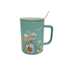ceramic floral mug with lid