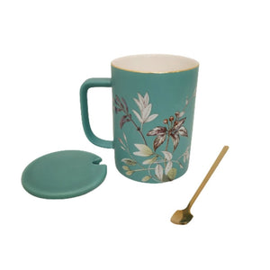 ceramic mug with lid and spoon