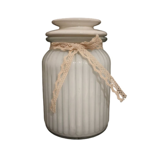 white glass jar for storage of little items