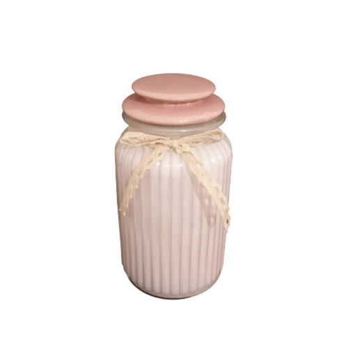 Glass baby pink jar with lid and embellishment