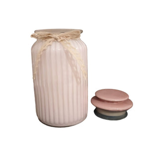 Glass blush pink jar
