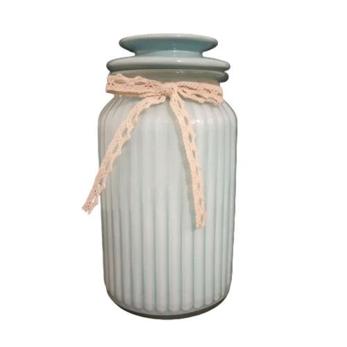 glass jar blue with lid for storage