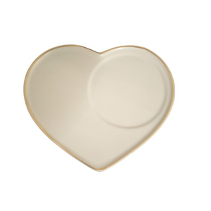 Heart shaped saucer or tray for ceramic cup