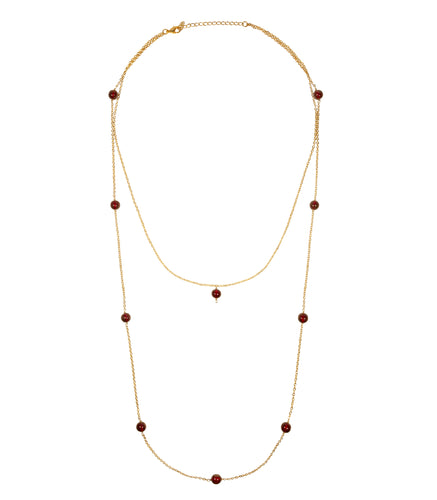 Cara necklace brass chain and ruby beads