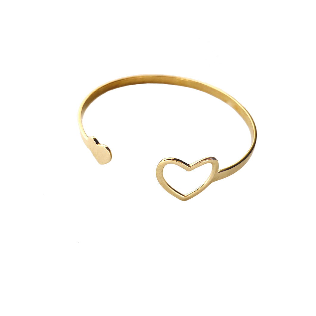 Delicate brass bracelet bangle with heart design