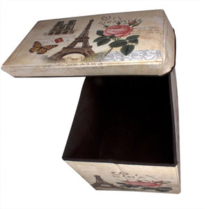 Rectangular folding storage box in vintage design with lid