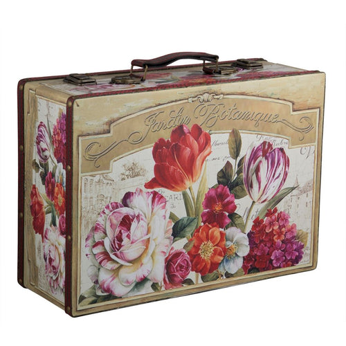 This suitcase has a pretty floral design and can be used as a decor accessory in your living space. It can be used to store almost anything - accessories, home stuff & more. This old style suitcase makes a unique gift on its own or filled up as a hamper.   Material: MDF