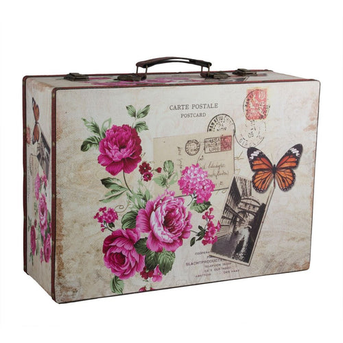vintage floral postcard design decorative suitcase