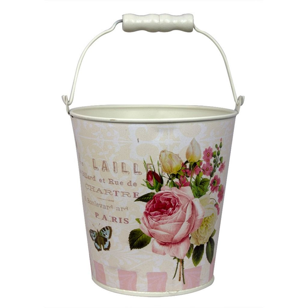 Floral vintage print bucket with handle