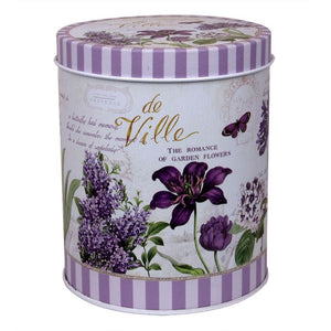 Garden floral print in lavender on metal tin jar