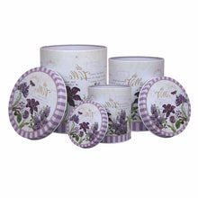 Load image into Gallery viewer, Metal tin containers lavender print set of 3