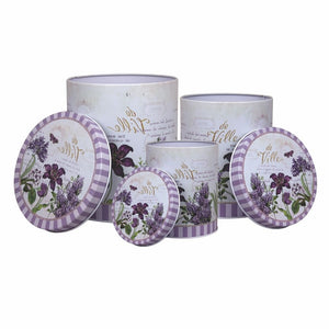 Metal tin containers lavender print set of 3