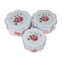 Load image into Gallery viewer, Set of 3 nesting metal tin containers with floral vintage design