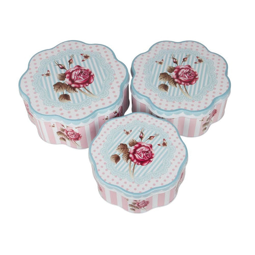 Set of 3 nesting metal tin containers with floral vintage design