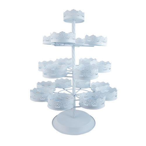 4 tier white metal cupcake stand