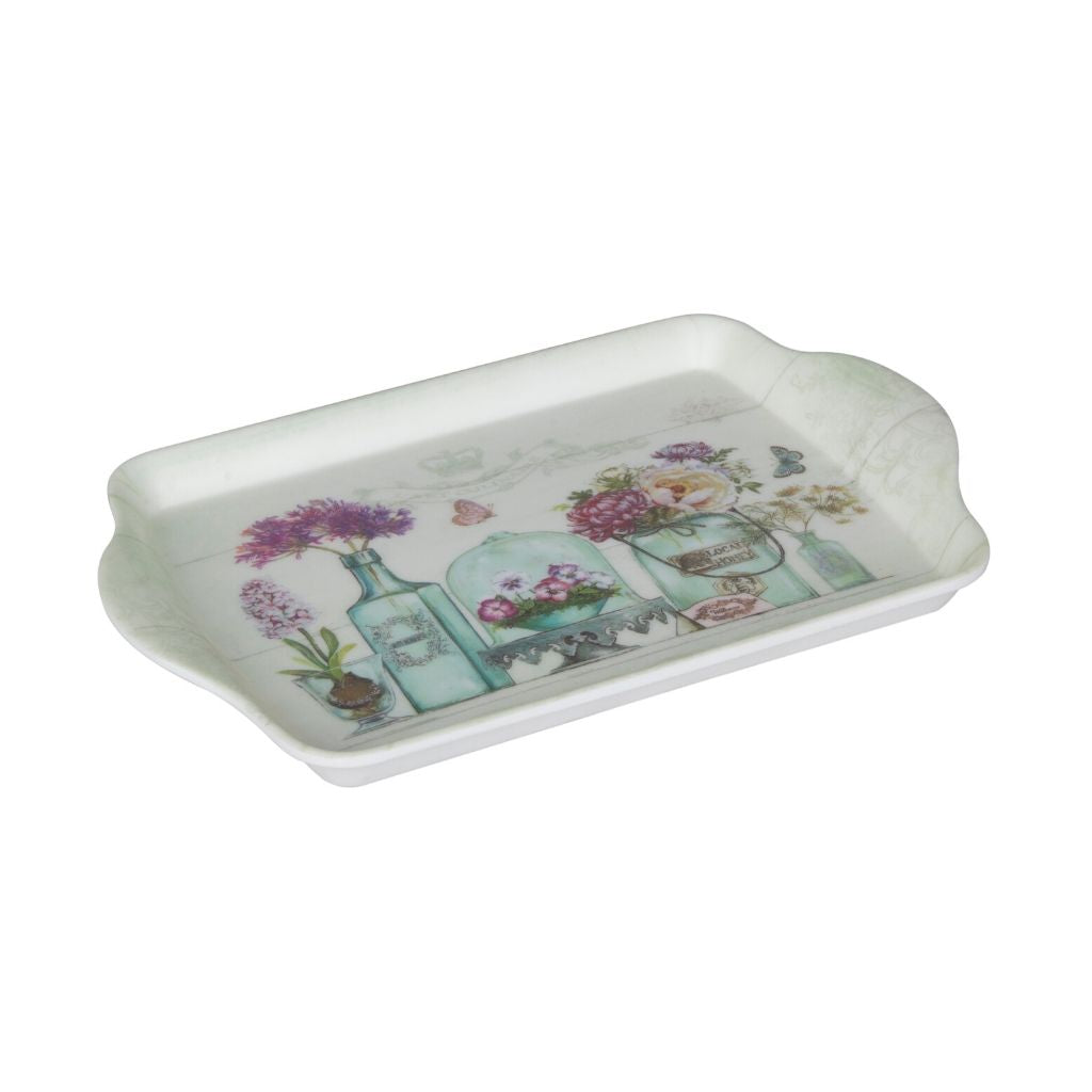 Serve almost anything with this elegant floral print tray. Perfect for parties or everyday usage, it is a great addition to your kitchen and dining collection. It is also a fabulous gifting idea and can even be used to layout other knick knacks as gifts and create a mini hamper for that special someone.   Material: Melamine
