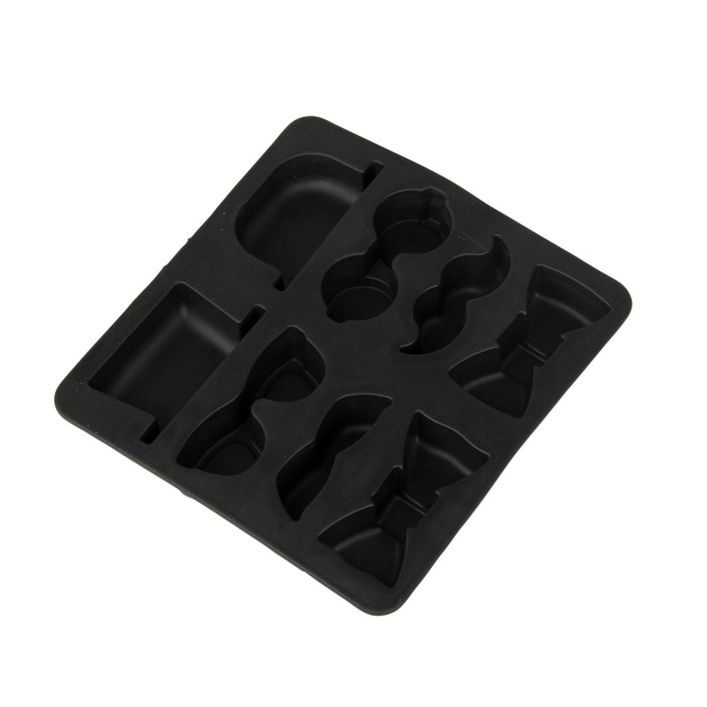 Silicone ice cube tray gentleman design in black