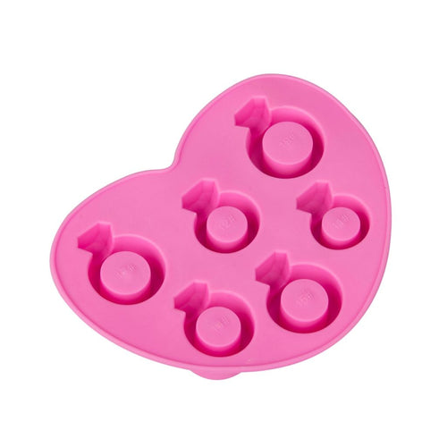 Pink heart shaped silicone ice cube tray in ring shapes