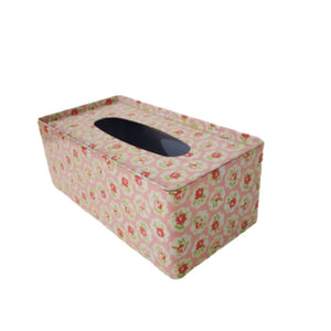 Floral english metal tin tissue box holder