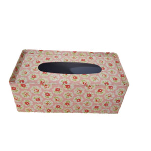 Metal floral tissue box holder