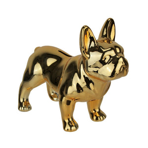 Gold bulldog ceramic money box