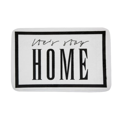bathmat with text lets stay home black white
