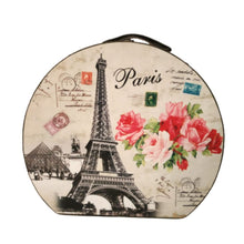 Load image into Gallery viewer, Large vintage storage hatbox with eiffel tower and floral print Parisian inspired